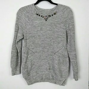 LOFT | Gray knit sweater with jewels size small